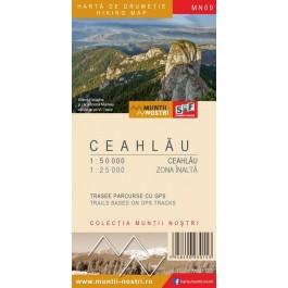Harta turistica Muntii Ceahlau cu Track-uri GPS, colectia Muntii Nostri