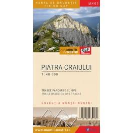 Harta turistica Muntii Piatra Craiului cu Track-uri GPS, colectia Muntii Nostri