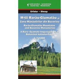 Hartă turistica Munţii Rarău-Gimalău si zona Mănăstirilor din Bucovina