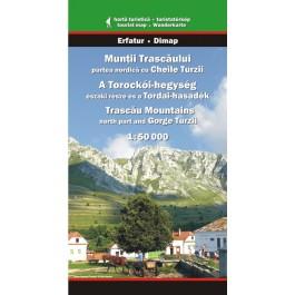 Hartă turistica Munţii Trascăului, partea nordică cu Cheile Turzii