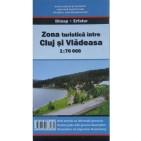 Zona turistică între Cluj şi Vlădeasa, harta rutieră şi turistică